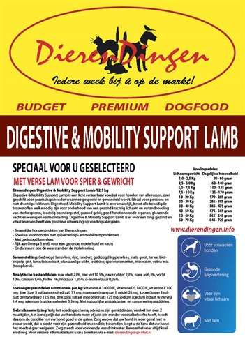 Budget premium dogfood digestive & mobility support lamb